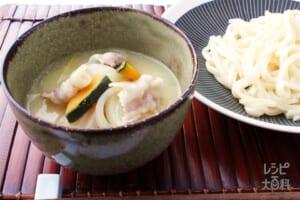 まろやか豆乳つけうどん(うどん+豚バラ薄切り肉を使ったレシピ)