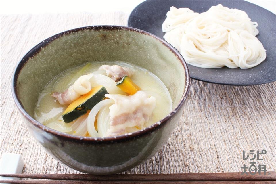 まろやか豆乳つけそうめん(そうめん+豚バラ薄切り肉を使ったレシピ)