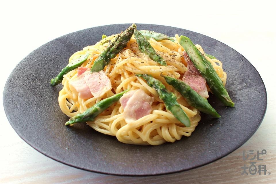 豆乳仕立てのパスタ カルボナーラ風(スパゲッティ+牛乳を使ったレシピ)