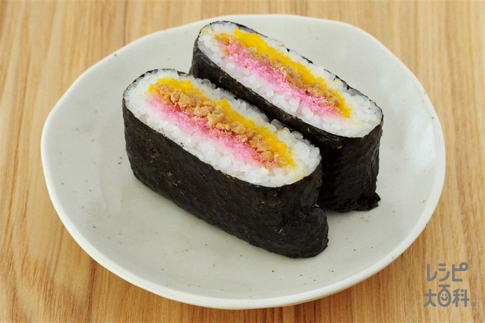 おにぎらず そぼろ(ご飯+鶏ひき肉を使ったレシピ)