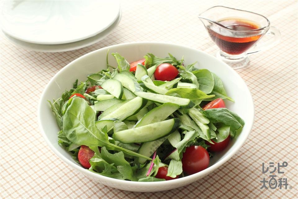 野菜サラダ 中華ドレッシング(きゅうり+ミニトマトを使ったレシピ)