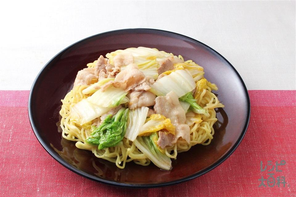 豚肉と白菜のあんかけ焼きそば(焼きそば用蒸しめん+豚バラ薄切り肉を使ったレシピ)