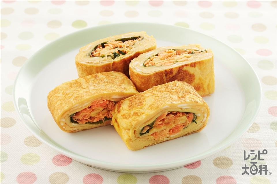鮭・大葉入り卵焼き(卵+さけフレークを使ったレシピ)