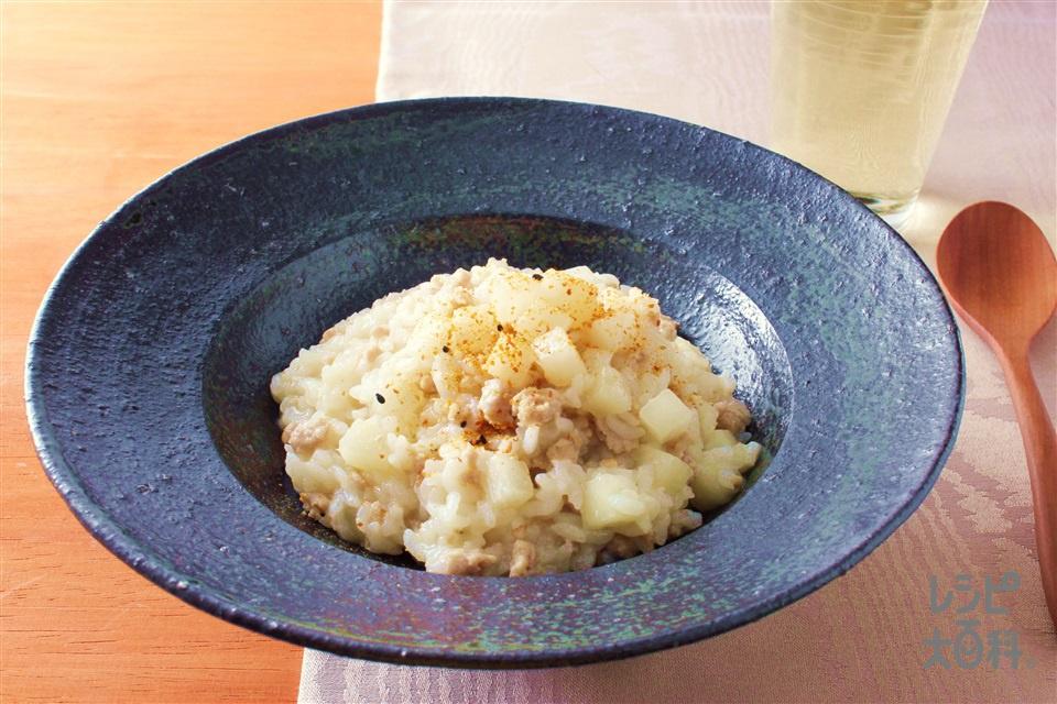 かぶのリゾット 七味風味(温かいご飯+豚ひき肉を使ったレシピ)