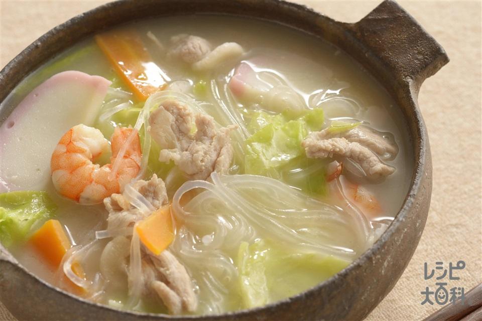 ちゃんぽん風春雨スープ(春雨+豚こま切れ肉を使ったレシピ)