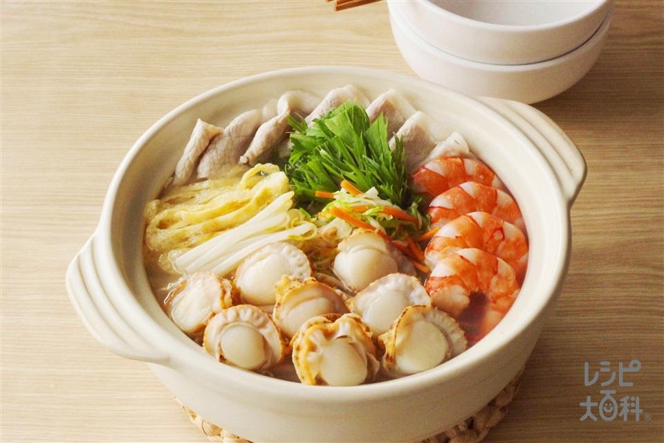 うま塩シャキシャキ夏鍋(豚しゃぶしゃぶ用肉+ボイル帆立貝柱を使ったレシピ)