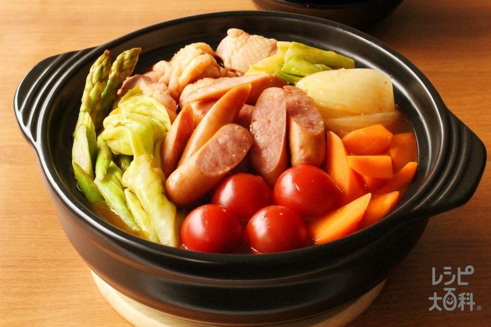 ピリ辛ポトフ風夏鍋(鶏もも肉+キャベツを使ったレシピ)
