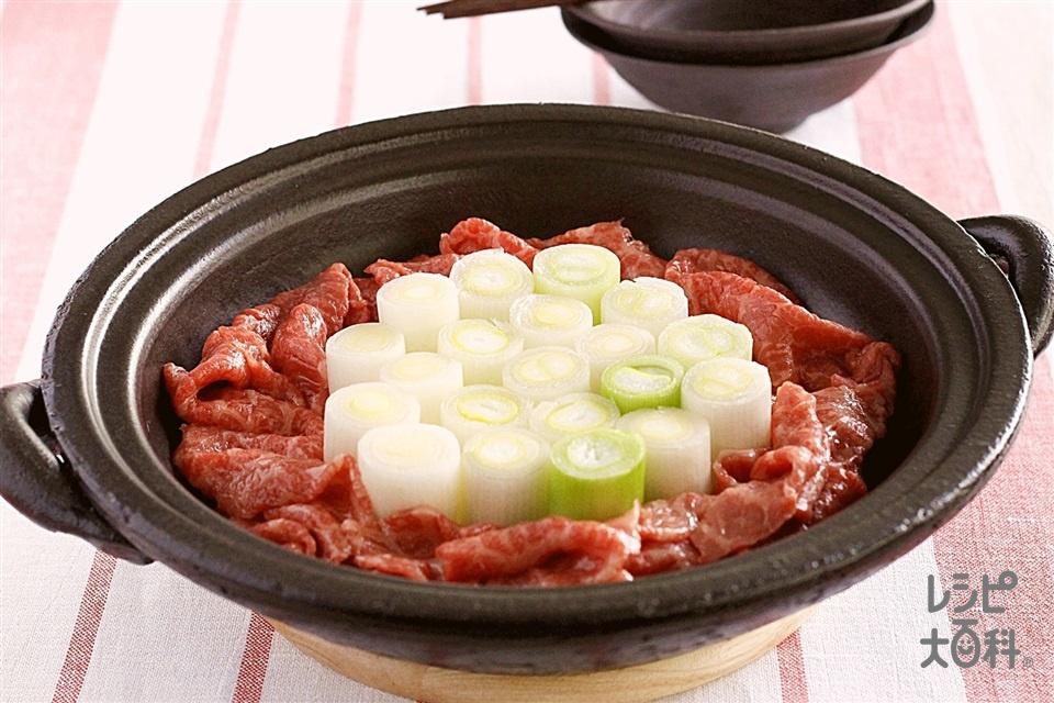 「ほんだし」で作る!スタンディングネギ鍋(牛肉(すき焼き用)+長ねぎを使ったレシピ)