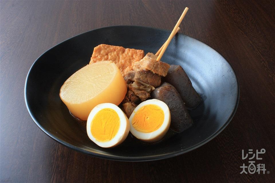 味噌おでん(牛スジ肉+こんにゃくを使ったレシピ)