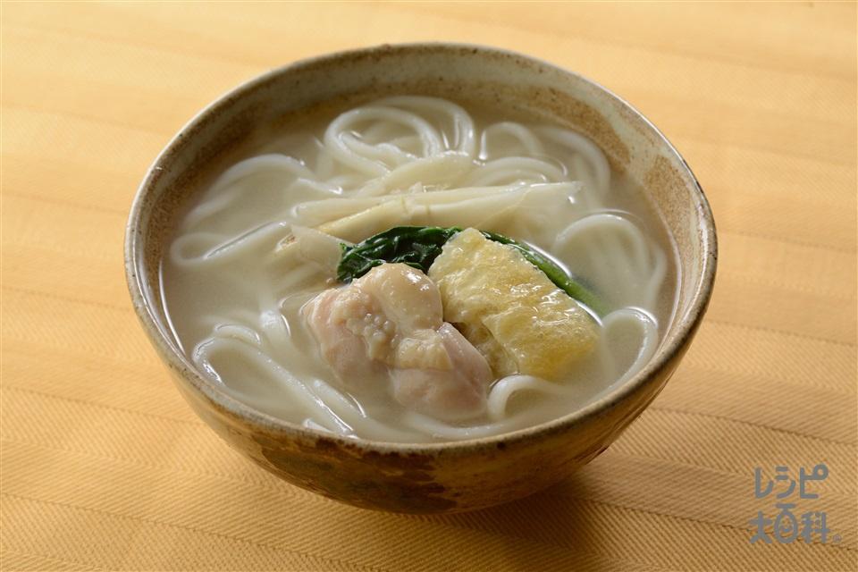 うま塩ちゃんこ力鍋のシメ(だししみつるつるうどん)(ゆでうどん+を使ったレシピ)