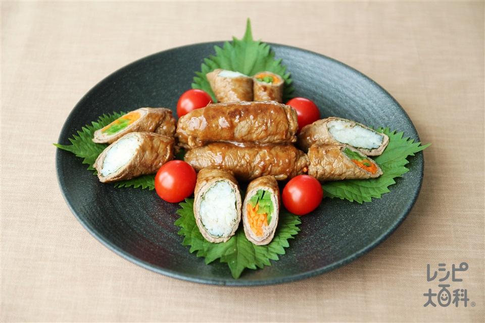中華風肉巻き(牛もも薄切り肉+ご飯を使ったレシピ)