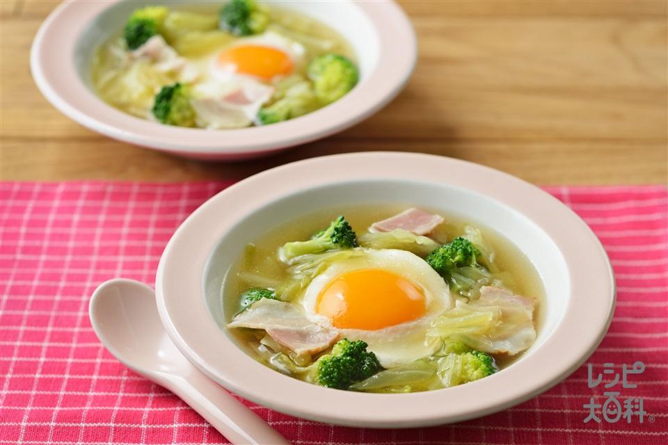 キャベツとたまごのスープ野菜(キャベツ+卵を使ったレシピ)