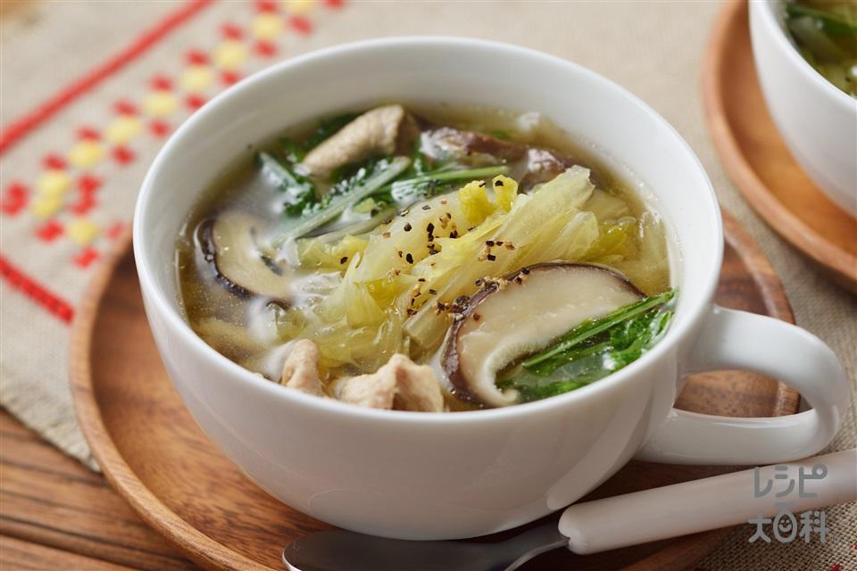 千切り白菜のスープ野菜(白菜+豚薄切り肉を使ったレシピ)