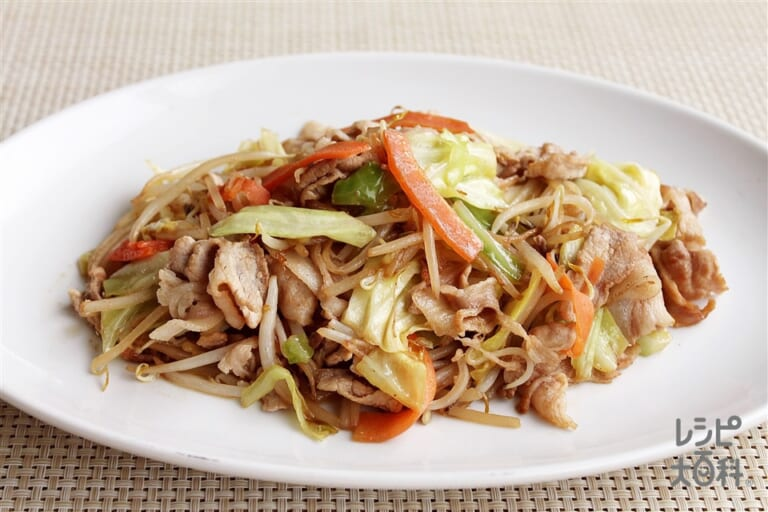 カット野菜と豚肉の簡単和風炒め