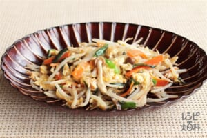 カット野菜の簡単ニラ玉(塩味)