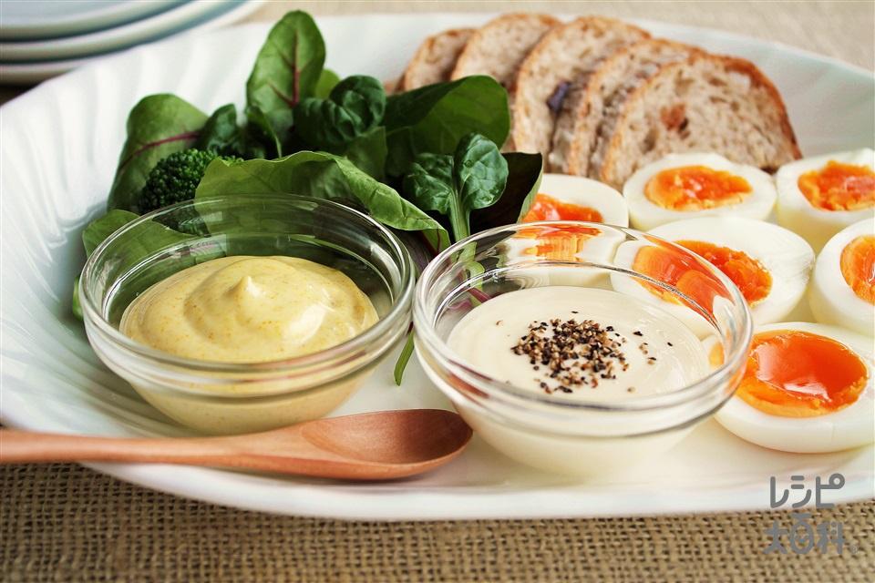 ウフ・マヨ(ゆでタマヨソース)(卵+ブロッコリー(ゆでたもの)を使ったレシピ)
