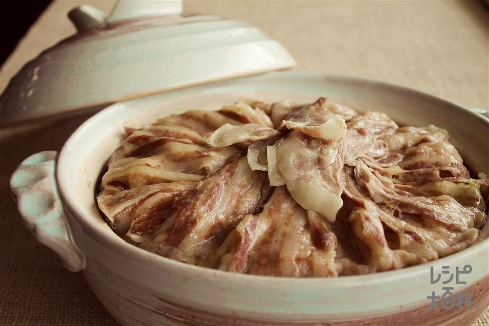 豚バラキャベツ鍋(キャベツ+豚バラ薄切り肉を使ったレシピ)