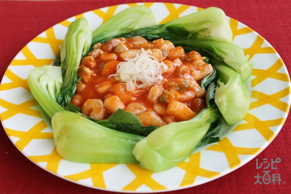 シーフードのチリソース(シーフードミックス+チンゲン菜を使ったレシピ)