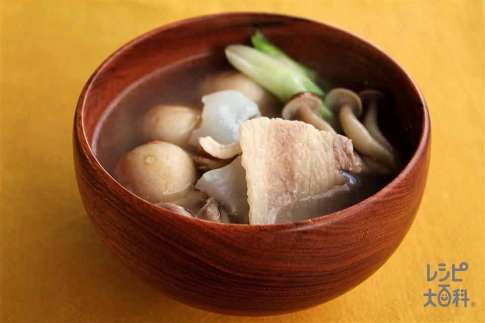 うま塩芋煮(豚バラ)(里いも+豚バラ薄切り肉を使ったレシピ)