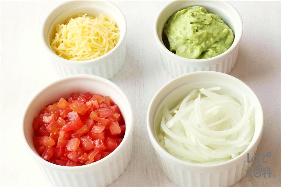 タコストッピング(トマト+シュレッドチーズを使ったレシピ)