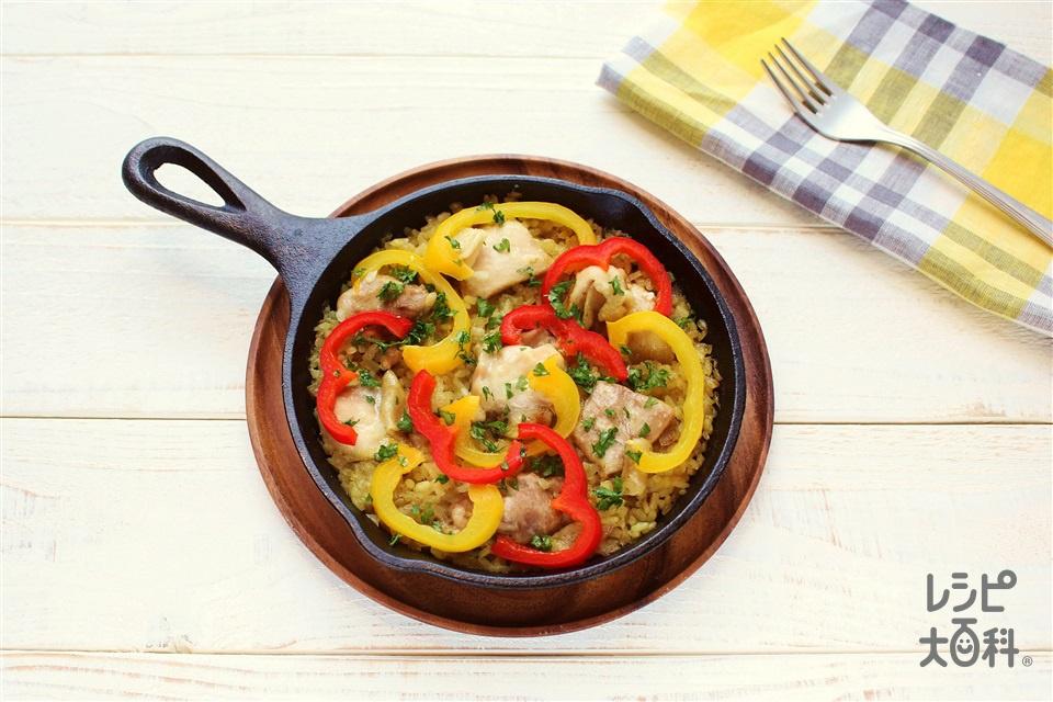 スキレットで簡単パエリア(米+鶏もも肉を使ったレシピ)