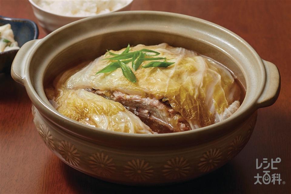豚バラと白菜のとろ~り重ね鍋(白菜+豚バラ薄切り肉を使ったレシピ)