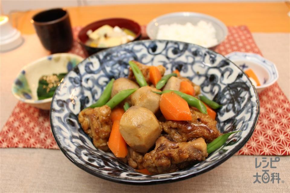 八幡芋と大塚人参の揚げ煮(鶏もも肉+A酒を使ったレシピ)
