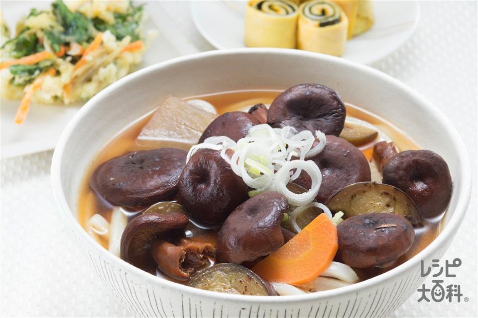 乳茸(ちたけ)うどん(うどん+なすを使ったレシピ)