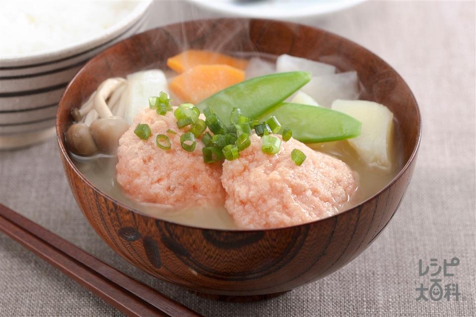 ボリュームたっぷり「鮭団子のみそ汁」(さけ+A溶き卵を使ったレシピ)