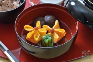 花しんすうの吸い物(卵+からし菜を使ったレシピ)