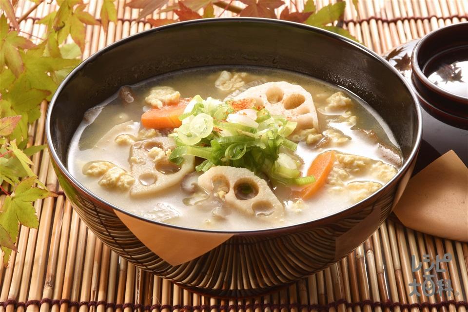 大根とれんこんのけんちん汁(木綿豆腐+溶き卵を使ったレシピ)