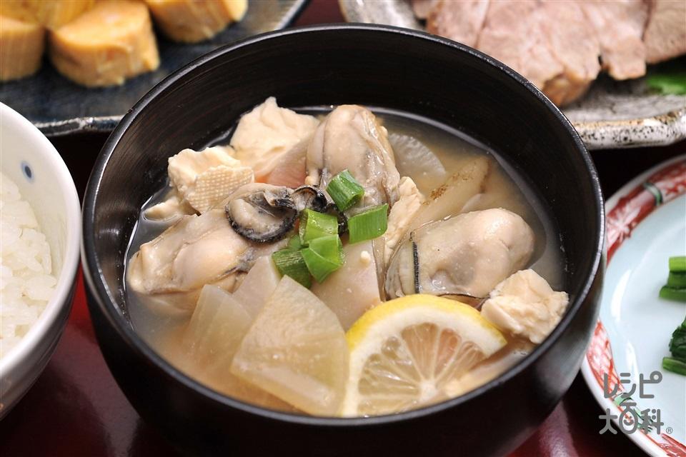 大根とカキの味噌けんちん汁(かき(むき身)+木綿豆腐を使ったレシピ)