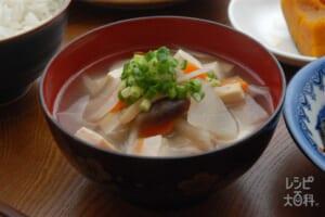 島根県産食材のけんちん汁(里いも+木綿豆腐を使ったレシピ)