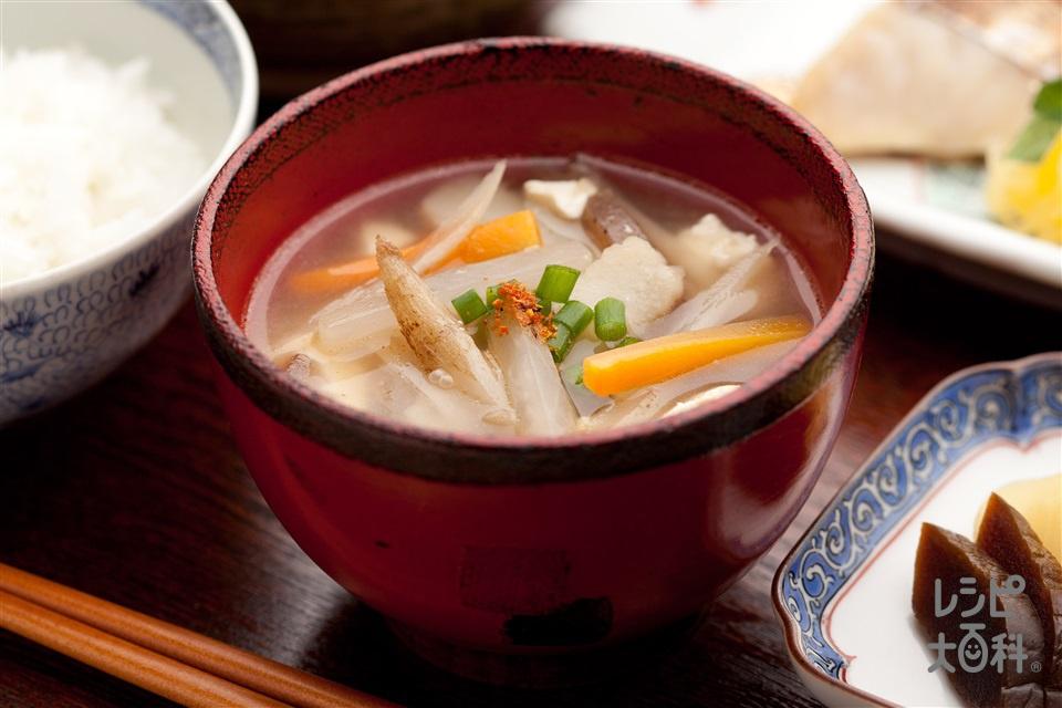 大根と金時にんじんのけんちん汁(木綿豆腐+こんにゃくを使ったレシピ)