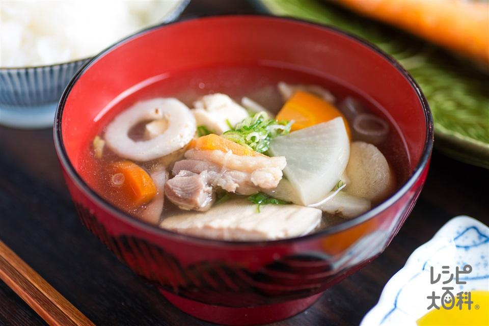 大根と阿波尾鶏のけんちん汁(こんにゃく+木綿豆腐を使ったレシピ)