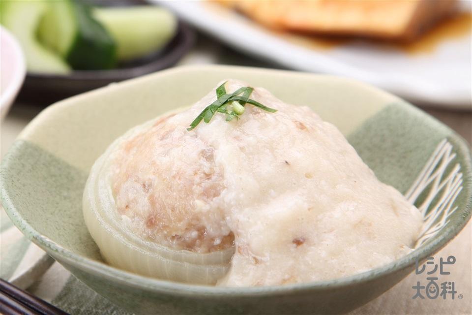 まるごと玉ねぎの自然薯あんかけ(玉ねぎ(小)+じねんじょを使ったレシピ)