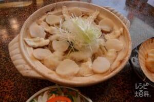ナガイモ・ホタテ・ヒラメの重ね鍋