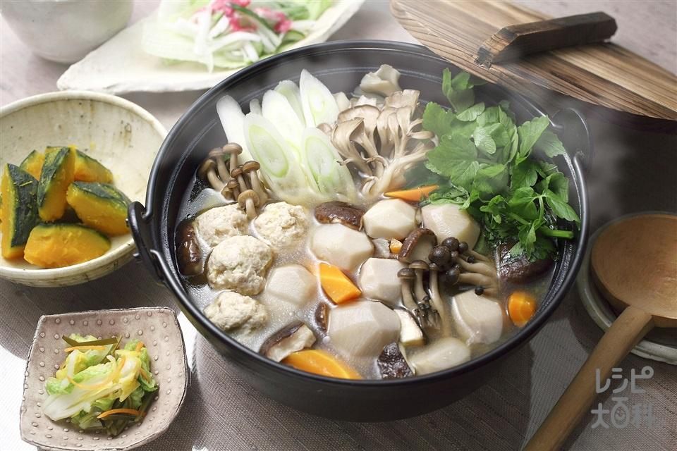 いものこ鍋(里いも+鶏ひき肉を使ったレシピ)