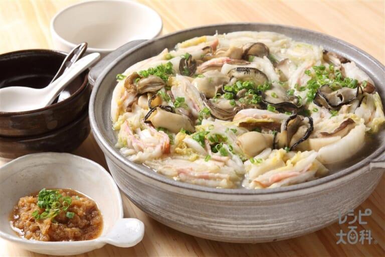 牡蠣と浅漬け白菜の潮鍋