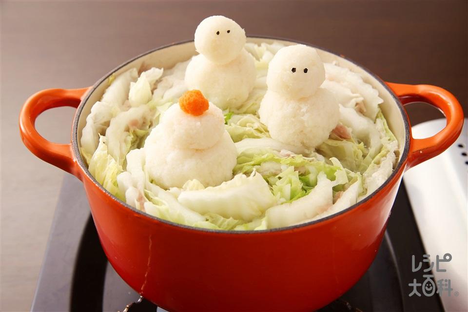 大根おろしアート鍋 鏡餅(豚バラ薄切り肉+白菜を使ったレシピ)