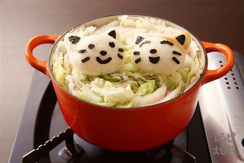 大根おろしアート鍋 猫(豚バラ薄切り肉+白菜を使ったレシピ)
