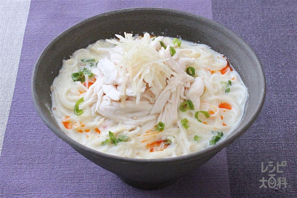 鶏だし豆乳にゅうめん(そうめん+鶏ささ身を使ったレシピ)