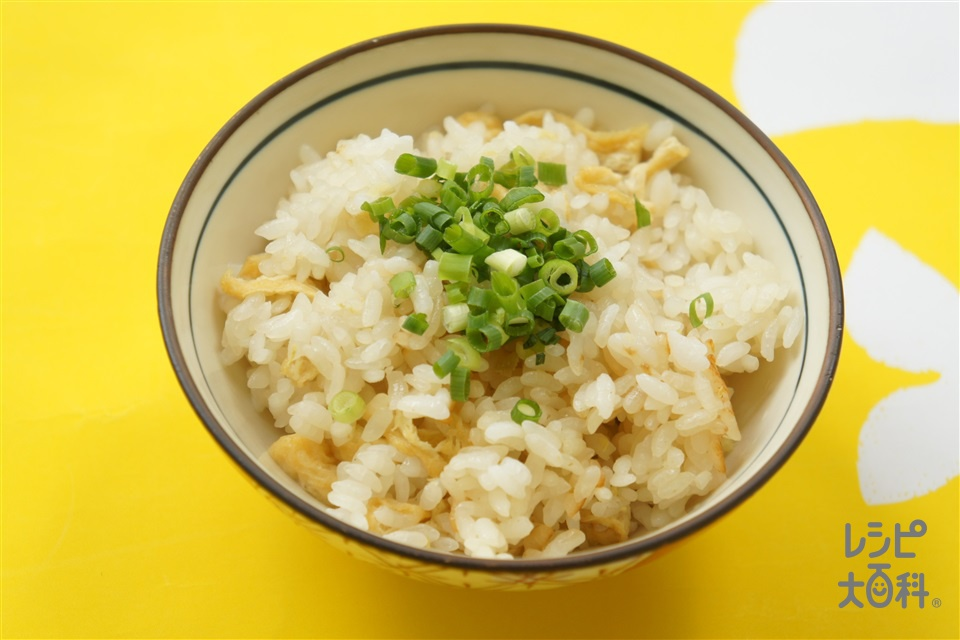 お揚げさんと生姜のだし炊きご飯(米+しょうがを使ったレシピ)