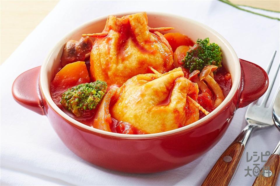 イタリアンきんちゃく餅(切り餅+カットトマト缶を使ったレシピ)