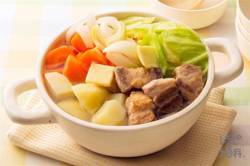 ゴロゴロにんじゃが鍋(にんじん+キャベツを使ったレシピ)