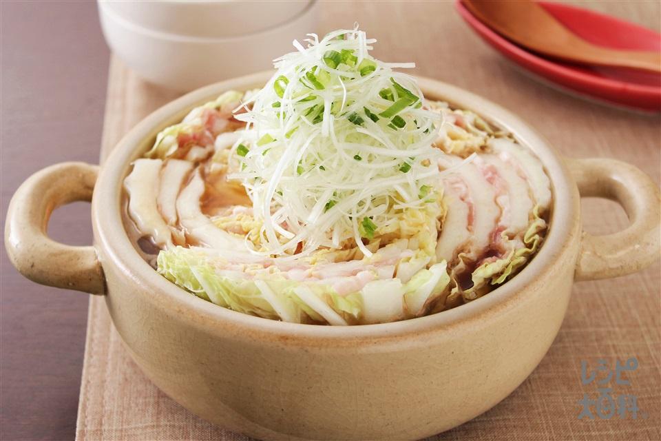 豚バラと白菜の重ね鍋(2人分)(豚バラ薄切り肉+白菜を使ったレシピ)
