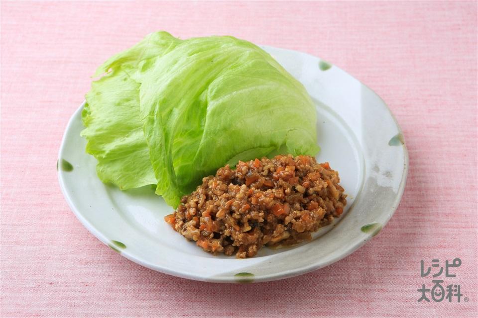 野菜たっぷり肉そぼろのレタス包み(豚ひき肉+レタスを使ったレシピ)