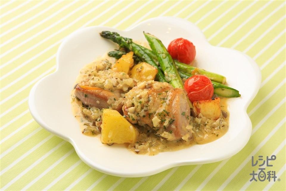 マーマレードソースのチキンソテー(鶏もも肉+グリーンアスパラガスを使ったレシピ)