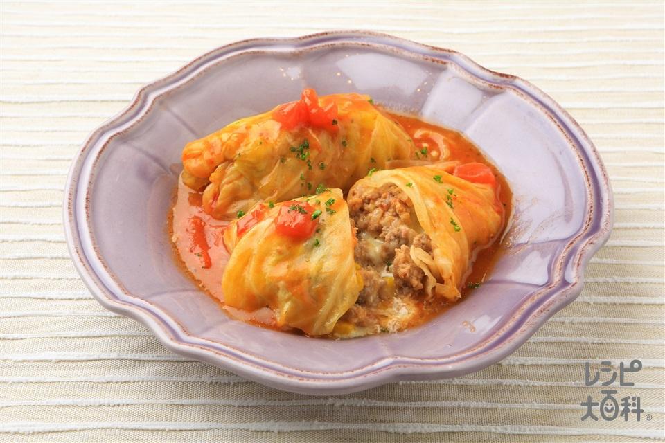 トマトの彩りロールキャベツ(キャベツ+合いびき肉を使ったレシピ)