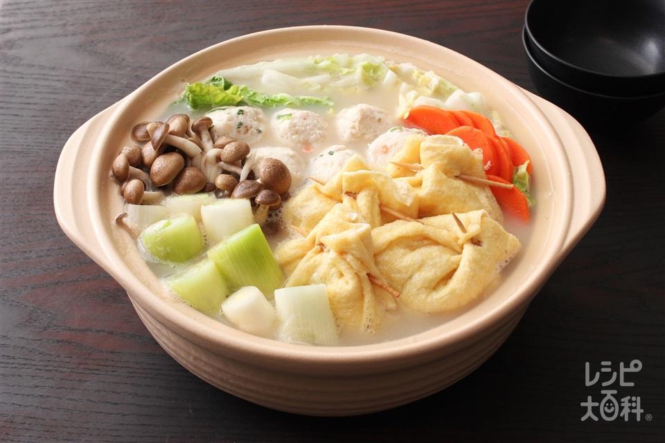 茶巾鍋(まろやか豆乳)(切り餅+白菜を使ったレシピ)
